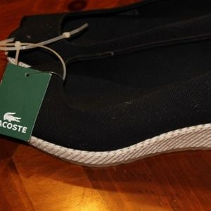 NEW LACOSTE BLACK AND WHITE ESPADRILLE SHOES